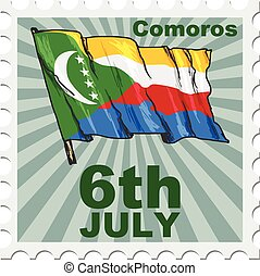 national day of Comoros - post stamp of national day of...