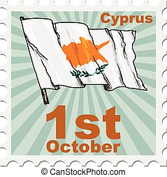 national day of Cyprus - post stamp of national day of...