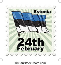 national day of Estonia - post stamp of national day of...