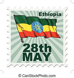 national day of Ethiopia - post stamp of national day of...