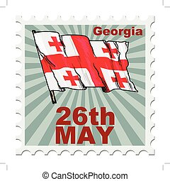national day of Georgia - post stamp of national day of...