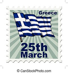 national day of Greece - post stamp of national day of...