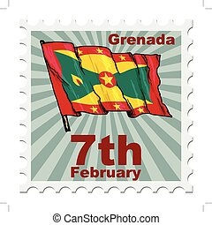national day of Grenada - post stamp of national day of...