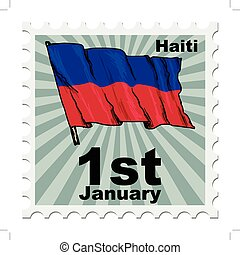 national day of Haiti - post stamp of national day of Haiti