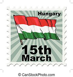 national day of Hungary - post stamp of national day of...