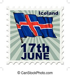 national day of Iceland - post stamp of national day of...