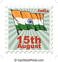 national day of India - post stamp of national day of India