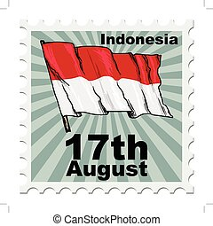 national day of Indonesia - post stamp of national day of...