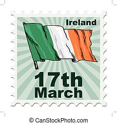 national day of Ireland - post stamp of national day of...