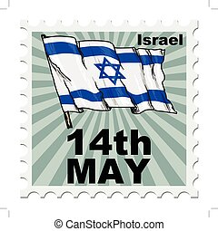 national day of Israel - post stamp of national day of...
