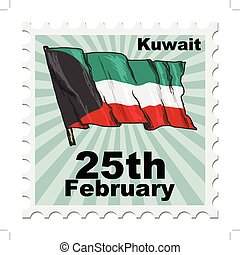 national day of Kuwait - post stamp of national day of...