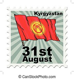 national day of Kyrgyzstan - post stamp of national day of...
