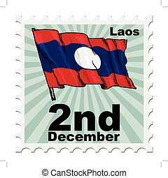 national day of Laos - post stamp of national day of Laos