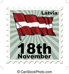 national day of Latvia - post stamp of national day of...