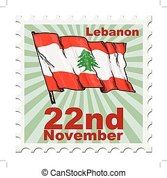 national day of Lebanon - post stamp of national day of...