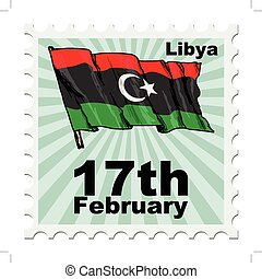 national day of Libya - post stamp of national day of Libya