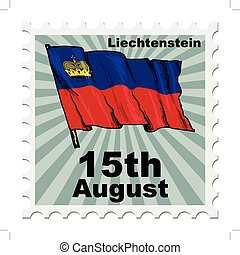 national day of Liechtenstein - post stamp of national day...