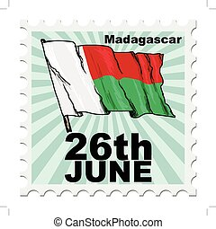 national day of Madagascar - post stamp of national day of...