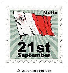 national day of Malta - post stamp of national day of Malta