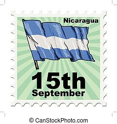 national day of Nicaragua - post stamp of national day of...