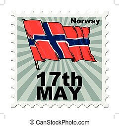 national day of Norway - post stamp of national day of...