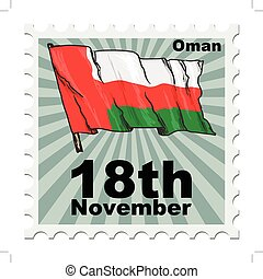 national day of Oman - post stamp of national day of Oman