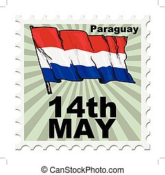 national day of Paraguay - post stamp of national day of...