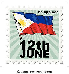 national day of Philippines - post stamp of national day of...
