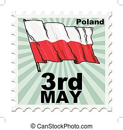 national day of Poland - post stamp of national day of...