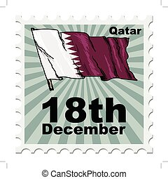 national day of Qatar - post stamp of national day of Qatar