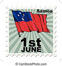 national day of Samoa - post stamp of national day of Samoa