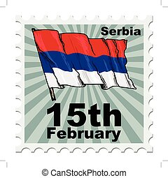 national day of Serbia - post stamp of national day of...