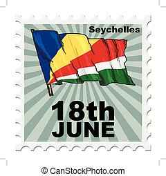 national day of Seychelles - post stamp of national day of...