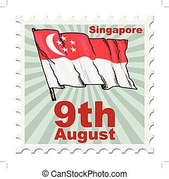 national day of Singapore - post stamp of national day of...