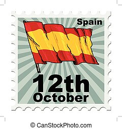 national day of Spain - post stamp of national day of Spain