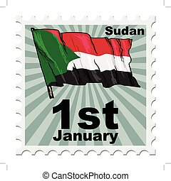 national day of Sudan - post stamp of national day of Sudan