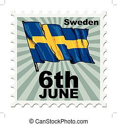 national day of Sweden - post stamp of national day of...