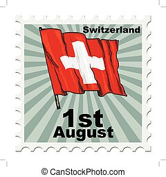 national day of Switzerland - post stamp of national day of...