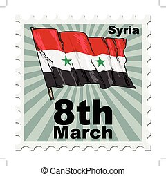 national day of Syria - post stamp of national day of Syria