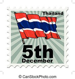 national day of Thailand - post stamp of national day of...
