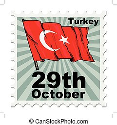 national day of Turkey - post stamp of national day of...