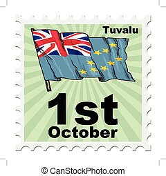 national day of Tuvalu - post stamp of national day of...