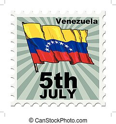 national day of Venezuela - post stamp of national day of...
