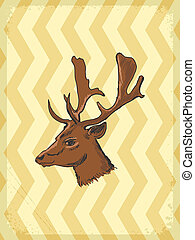 vintage background with deer - vintage, grunge background...
