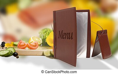 leather vegetarian menu in a restaurant - opened empty...