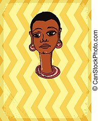 African girl - vintage, grunge background with African...
