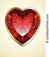 Ruby heart background - Ruby red heart as romantic...