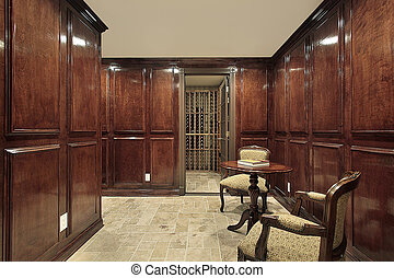 Wine cellar with sitting area