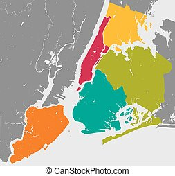 Boroughs of New York City - outline map. - High resolution...