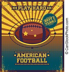 American football poster. - Colorful background with ball...